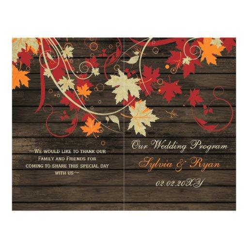 Barnwood Rustic ,fall wedding programs folded Flyer