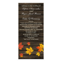 barnwood rustic fall wedding programs tea length