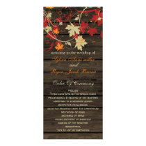 Barnwood Rustic ,fall wedding programs tea length