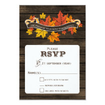 Barnwood Rustic fall wedding  rsvp 3.5 x 5 Card