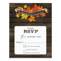 Barnwood Rustic Fall wedding rsvp Card