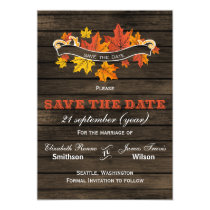 Barnwood Rustic Fall wedding save the date Card
