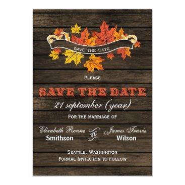 Barnwood Rustic Fall wedding save the date Card