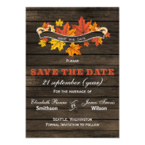 Barnwood Rustic Fall wedding save the date Magnetic Card