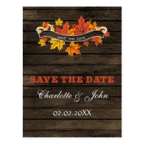 Barnwood Rustic Fall wedding save the Date Postcard