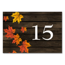 Barnwood Rustic Fall wedding table numbers Card