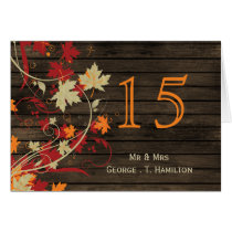 Barnwood Rustic ,fall wedding table numbers Card
