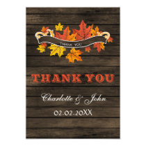 Barnwood Rustic Fall wedding Thank You Card