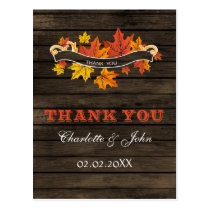 Barnwood Rustic Fall wedding Thank You Postcard