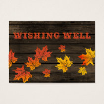 Barnwood Rustic Fall wedding wishing well Business Card