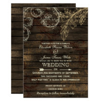Barnwood, Rustic flourish wedding invitations
