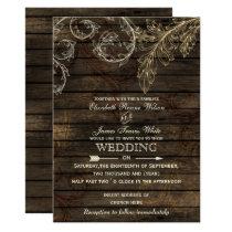 Barnwood, Rustic flourish wedding invitations