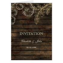 Barnwood, Rustic flourish wedding invites