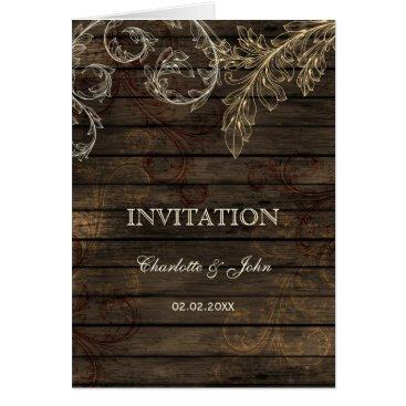 Barnwood, Rustic flourish wedding invites