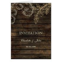 Barnwood, Rustic flourish wedding invites Card