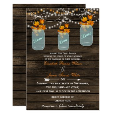 Barnwood, Rustic mason jar fall wedding Card