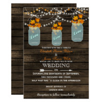 Barnwood, Rustic mason jar Fall wedding invitation