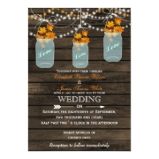 Rustic barnwood fall leaves in a mason jar fall wedding invites by mgdezigns