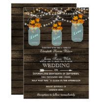 Barnwood, Rustic mason jar Fall wedding invitation