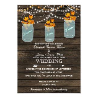 "Barnwood, Rustic mason jar Fall wedding invitation 5"" X 7"" Invitation Card"