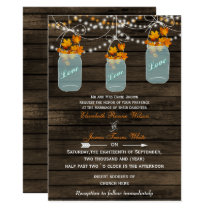 Barnwood, Rustic mason jar fall wedding invites