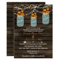 Barnwood, Rustic mason jar fall wedding invites