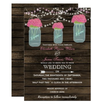 Barnwood, Rustic mason jar wedding invitations