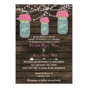 Rustic barnwood pink flowers in a mason jar wedding invites by mgdezigns