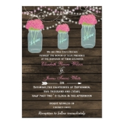 Rustic Barnwood,dangling string lights pink flowers in a mason jar  wedding invites by mgdezigns