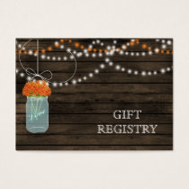 Barnwood Rustic orange mason jars gift registry Business Card