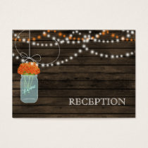 Barnwood Rustic orange mason jars reception invite