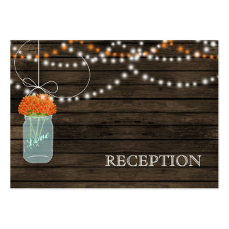 Barnwood Rustic orange mason jars reception invite Business Cards
