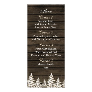 Barnwood Rustic Pine trees, wedding menu cards