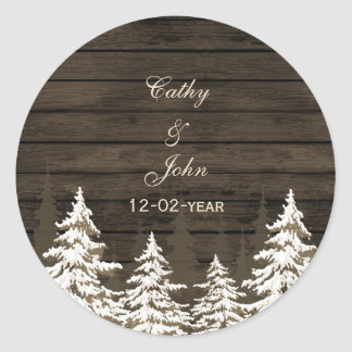 Barnwood Rustic Pine trees, winter favor stickers