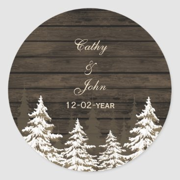 Barnwood Rustic Pine trees, winter favor stickers