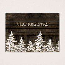 Barnwood Rustic Pine trees, winter gift registry Business Card