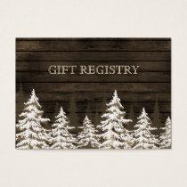 Barnwood Rustic Pine trees, winter gift registry Business Card