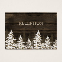 Barnwood Rustic Pine trees winter reception invite