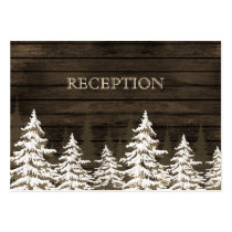 Barnwood Rustic Pine trees winter reception invite Large Business Card