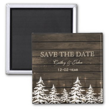 Barnwood Rustic Pine trees, winter save the Date Magnet