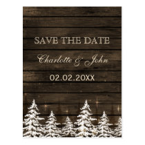 Barnwood Rustic Pine trees, winter save the date Postcard