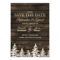 Barnwood Rustic Pine trees, winter save the dates Card