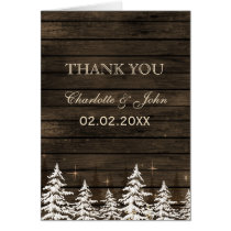Barnwood Rustic Pine trees, winter Thank You Card