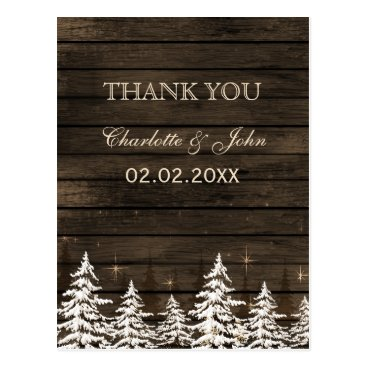 Barnwood Rustic Pine trees, winter Thank You notes