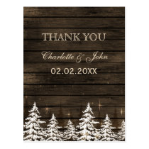 Barnwood Rustic Pine trees, winter Thank You notes Postcard