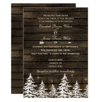 Barnwood Rustic Pine trees Winter Wedding Invites