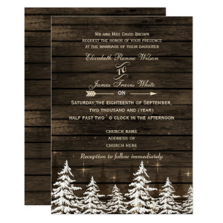 Rustic Winter Wedding Invitations & Announcements | Zazzle