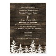 Barnwood Rustic Pine trees Winter Wedding Invites by mgdezigns