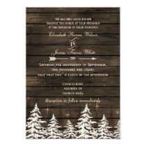 Barnwood Rustic Pine trees Winter Wedding Invites
