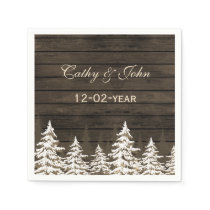 Barnwood Rustic Pine trees, winter wedding napkin